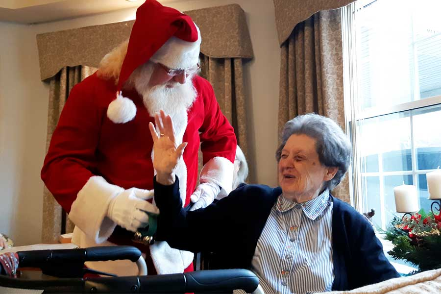Santa and Mrs Claus visits Ridgewood Assisted Living